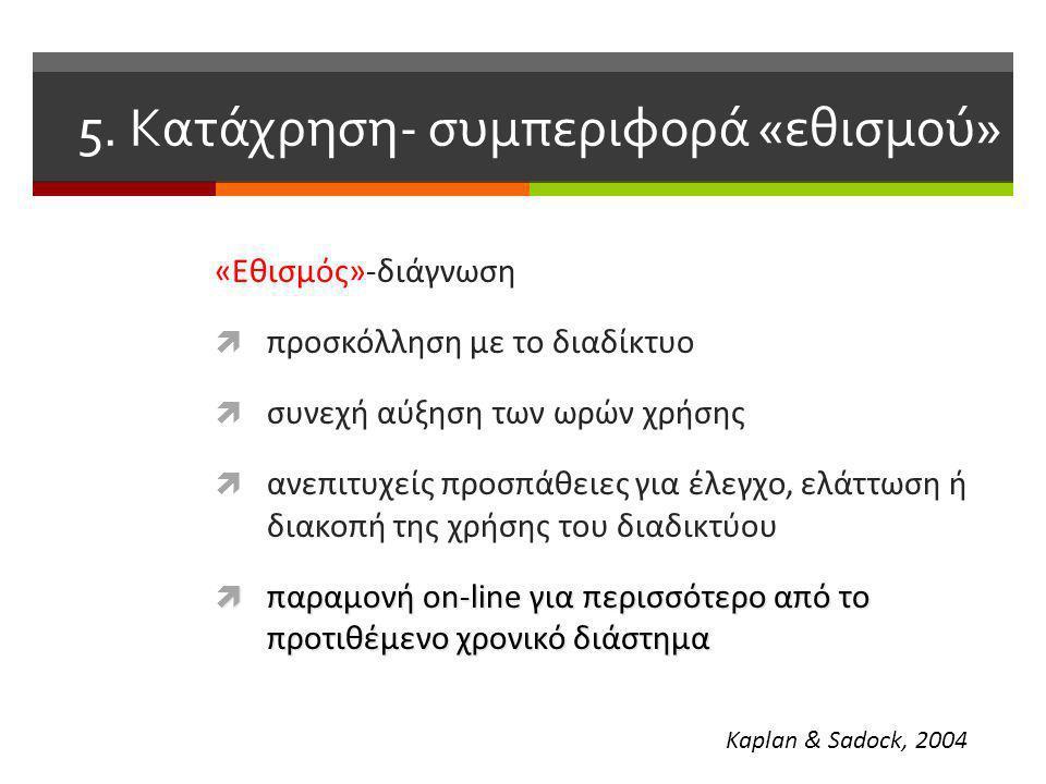«Εθισμός»-διάγνωση  προσκόλληση με το διαδίκτυο  συνεχή αύξηση των ωρών χρήσης  ανεπιτυχείς προσπάθειες για έλεγχο, ελάττωση ή διακοπή της χρήσης του διαδικτύου  παραμονή on-line για περισσότερο από το προτιθέμενο χρονικό διάστημα Kaplan & Sadock, 2004