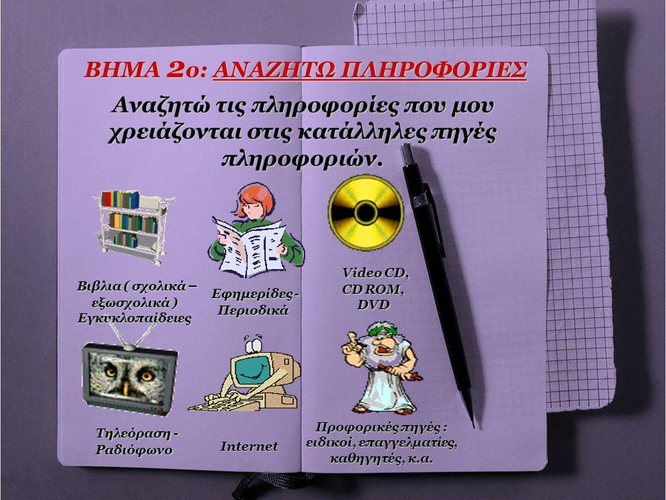 ΒΗΜΑ 2 ο: ΑΝΑΖΗΤΩ ΠΛΗΡΟΦΟΡΙΕΣ Αναζητώ τις πληροφορίες που μου χρειάζονται στις κατάλληλες πηγές πληροφοριών. Βιβλια ( σχολικά – εξωσχολικά ) Εγκυκλοπα