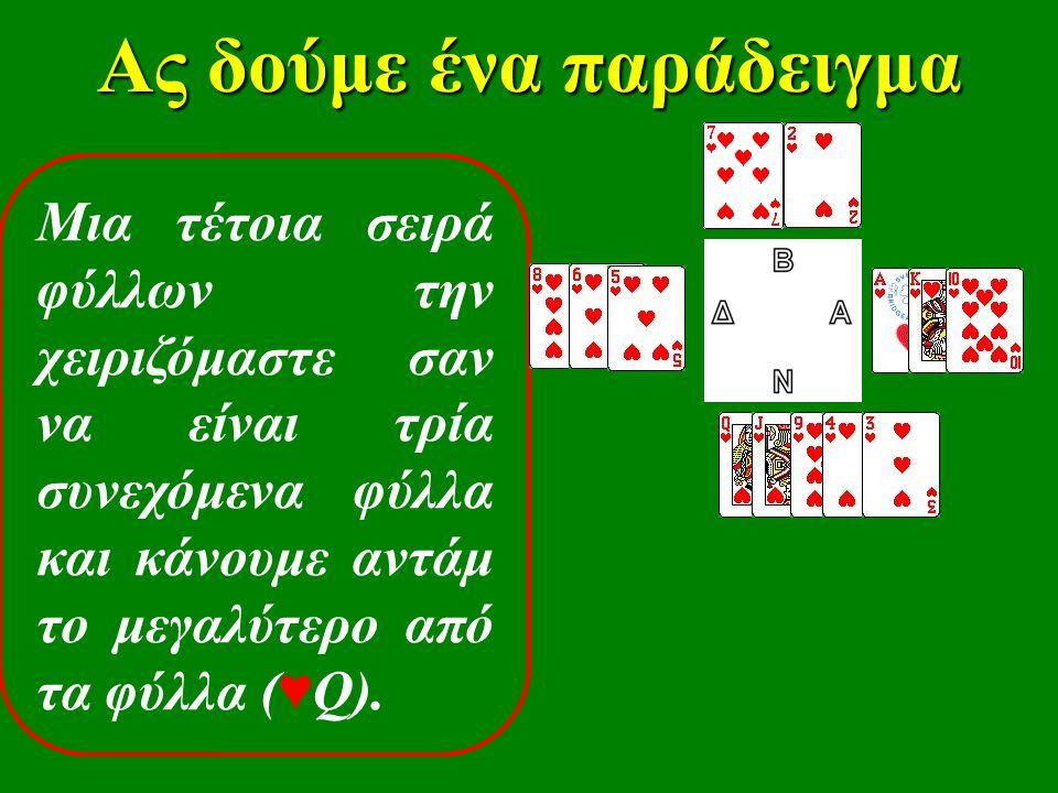 Ας δούμε ένα παράδειγμα Μια τέτοια σειρά φύλλων την χειριζόμαστε σαν να είναι τρία συνεχόμενα φύλλα και κάνουμε αντάμ το μεγαλύτερο από τα φύλλα ( ♥ Q).