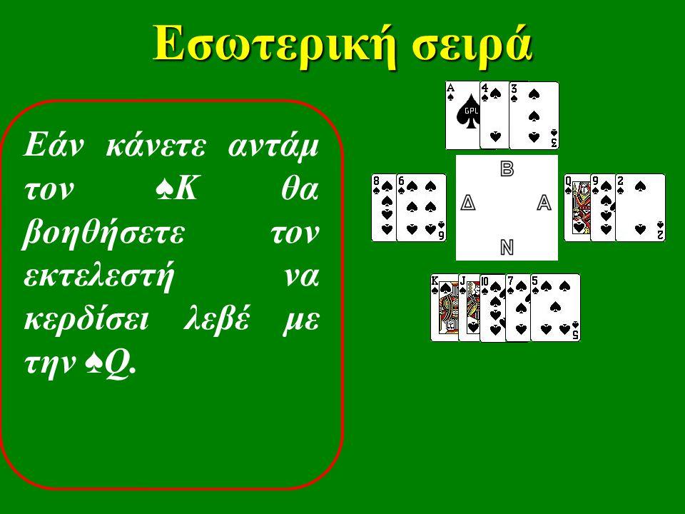 Εσωτερική σειρά Εάν κάνετε αντάμ τον ♠ Κ θα βοηθήσετε τον εκτελεστή να κερδίσει λεβέ με την ♠ Q.