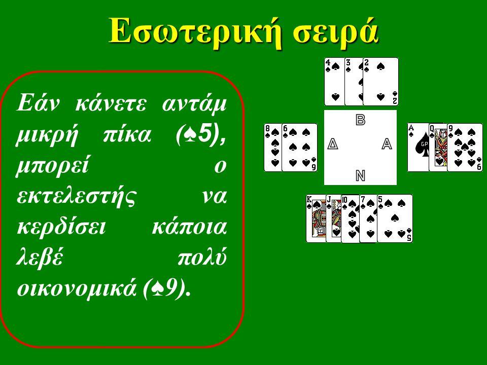 Εσωτερική σειρά Εάν κάνετε αντάμ μικρή πίκα ( ♠5), μπορεί ο εκτελεστής να κερδίσει κάποια λεβέ πολύ οικονομικά ( ♠ 9).