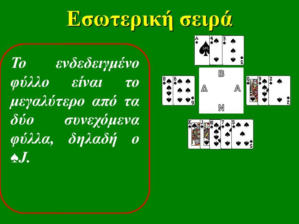 Εσωτερική σειρά Το ενδεδειγμένο φύλλο είναι το μεγαλύτερο από τα δύο συνεχόμενα φύλλα, δηλαδή ο ♠ J.