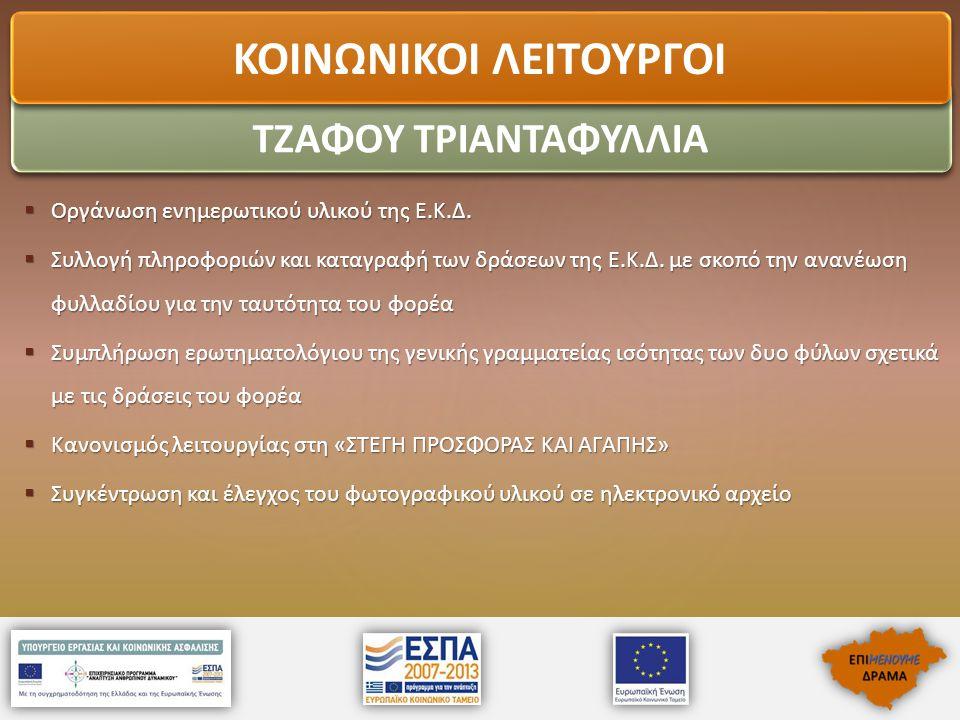  Οργάνωση ενημερωτικού υλικού της Ε.Κ.Δ.  Συλλογή πληροφοριών και καταγραφή των δράσεων της Ε.Κ.Δ. με σκοπό την ανανέωση φυλλαδίου για την ταυτότητα
