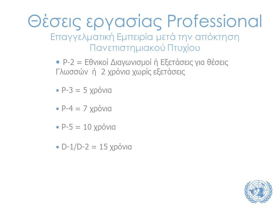 • P-2 = Εθνικοί Διαγωνισμοί ή Εξετάσεις για θέσεις Γλωσσών ή 2 χρόνια χωρίς εξετάσεις • P-3 = 5 χρόνια • P-4 = 7 χρόνια • P-5 = 10 χρόνια • D-1/D-2 = 15 χρόνια Θέσεις εργασίας Professional Επαγγελματική Εμπειρία μετά την απόκτηση Πανεπιστημιακού Πτυχίου
