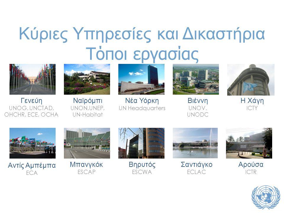 Κύριες Υπηρεσίες και Δικαστήρια Τόποι εργασίας Γενεύη UNOG, UNCTAD, OHCHR, ECE, OCHA Ναϊρόμπι UNON,UNEP, UN-Habitat Νέα Υόρκη UN Headquarters Βιέννη UNOV, UNODC Αντίς Αμπέμπα ECA Μπανγκόκ ESCAP Βηρυτός ESCWA Σαντιάγκο ECLAC Η Χάγη ICTY Αρούσα ICTR