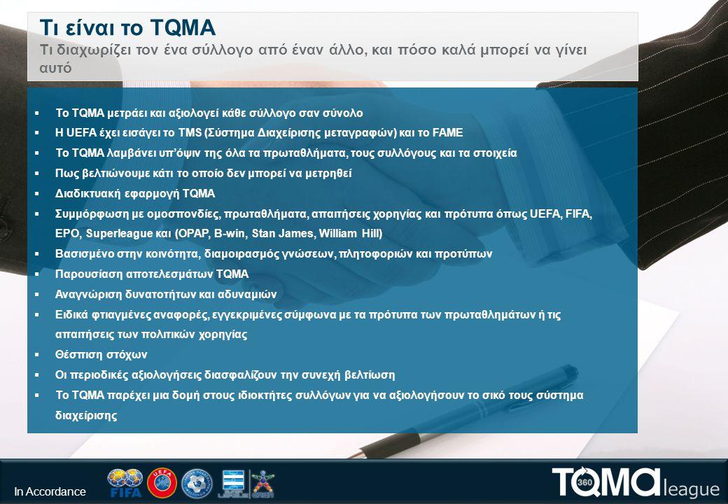 Τι είναι το TQMA Τι διαχωρίζει τον ένα σύλλογο από έναν άλλο, και πόσο καλά μπορεί να γίνει αυτό  Το TQMA μετράει και αξιολογεί κάθε σύλλογο σαν σύνολο  Η UEFA έχει εισάγει το TMS (Σύστημα Διαχείρισης μεταγραφών) και το FAME  Το TQMA λαμβάνει υπ'όψιν της όλα τα πρωταθλήματα, τους συλλόγους και τα στοιχεία  Πως βελτιώνουμε κάτι το οποίο δεν μπορεί να μετρηθεί  Διαδικτυακή εφαρμογή TQMA  Συμμόρφωση με ομοσπονδίες, πρωταθλήματα, απαιτήσεις χορηγίας και πρότυπα όπως UEFA, FIFA, EPO, Superleague και (OPAP, B-win, Stan James, William Hill)  Βασισμένο στην κοινότητα, διαμοιρασμός γνώσεων, πλητοφοριών και προτύπων  Παρουσίαση αποτελεσμάτων TQMA  Αναγνώριση δυνατοτήτων και αδυναμιών  Ειδικά φτιαγμένες αναφορές, εγγεκριμένες σύμφωνα με τα πρότυπα των πρωταθλημάτων ή τις απαιτήσεις των πολιτικών χορηγίας  Θέσπιση στόχων  Οι περιοδικές αξιολογήσεις διασφαλίζουν την συνεχή βελτίωση  Το TQMA παρέχει μια δομή στους ιδιοκτήτες συλλόγων για να αξιολογήσουν το σικό τους σύστημα διαχείρισης Compliance In Accordance
