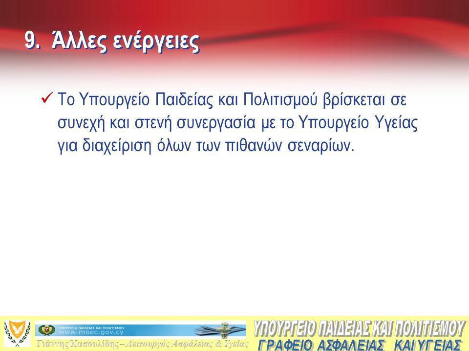 9. Άλλες ενέργειες  Το Υπουργείο Παιδείας και Πολιτισμού βρίσκεται σε συνεχή και στενή συνεργασία με το Υπουργείο Υγείας για διαχείριση όλων των πιθα