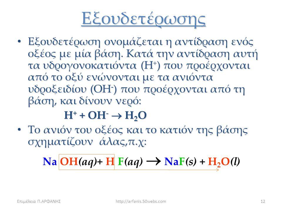 Επιμέλεια Π.ΑΡΦΑΝΗΣhttp://arfanis.50webs.com11 Διπλής Αντικατάστασης FeS + Η 2 SO 4  FeSO 4 + H 2 S(g) Το υδρόθειο H 2 S ανιχνεύεται από την χαρακτηρ