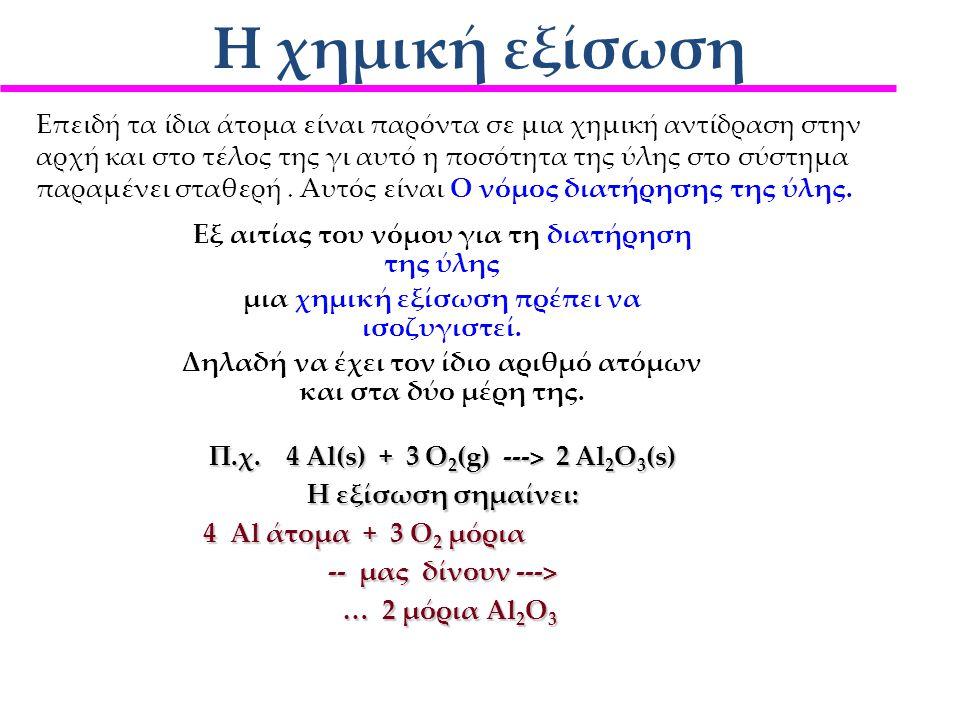 Η χημική εξίσωση Όλες οι πληροφορίες, ποιοτικές και ποσοτικές, που πρέπει να είναι γνωστές, ώστε να είναι σαφώς καθορισμένη μια χημική αντίδραση αποτυ