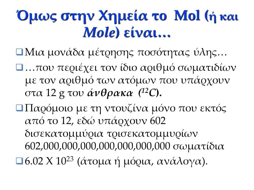 Η έννοια mol ( ή mole )  Ο όρος mol προέρχεται από τη λατινική λέξη moles που σημαίνει σωρό από πέτρες, τοποθετημένες για την κατασκευή λιμενοβραχίον