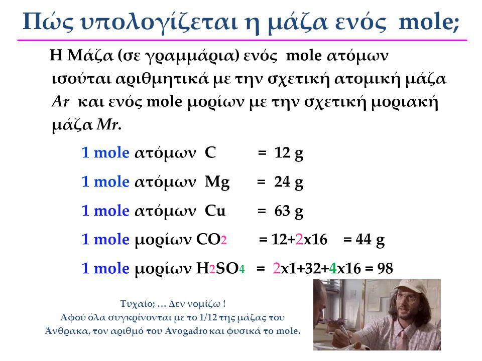 6 x 10 23 Ν Α Τον ίδιο αριθμό ατόμων 6 x 10 23 ή Ν Α Τι κοινό έχουν όλα τα mol; διαφορετική μάζα: …αλλά διαφορετική μάζα: 1 mol από ΜΑΓΕΙΡΙΚΟ ΑΛΑΤΙ (N