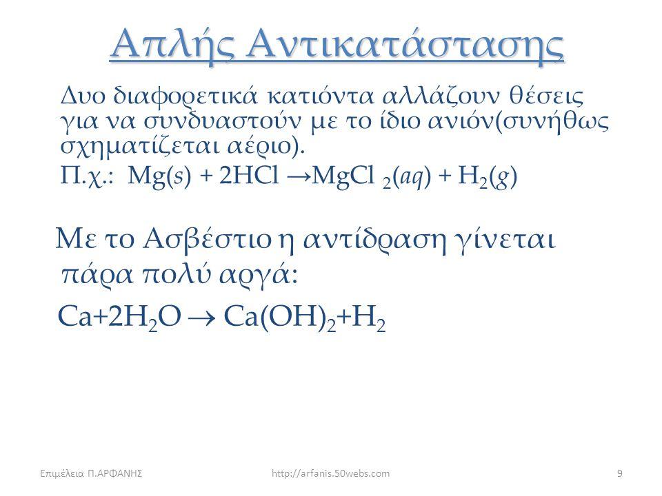 Επιμέλεια Π.ΑΡΦΑΝΗΣhttp://arfanis.50webs.com8 Απλής Αντικατάστασης Κατά τις αντιδράσεις αυτές ένα στοιχείο που βρίσκεται σε ελεύθερη κατάσταση αντικαθ