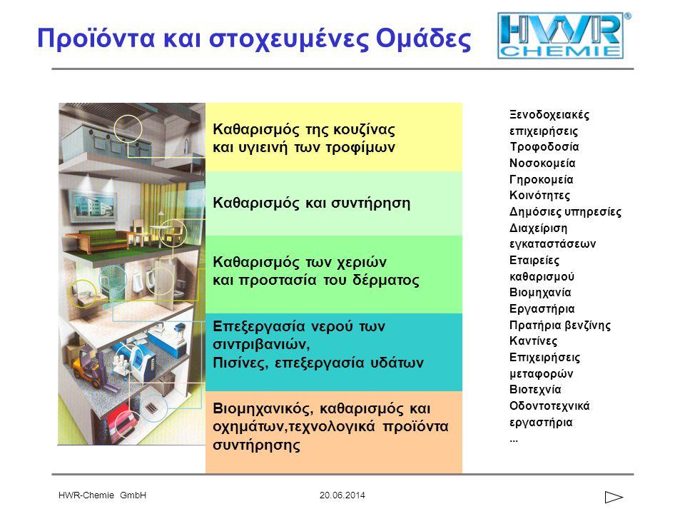 HWR-Chemie GmbH20.06.2014 Προϊόντα και στοχευμένες Ομάδες Καθαρισμός της κουζίνας και υγιεινή των τροφίμων Καθαρισμός και συντήρηση Βιομηχανικός, καθαρισμός και οχημάτων,τεχνολογικά προϊόντα συντήρησης Επεξεργασία νερού των σιντριβανιών, Πισίνες, επεξεργασία υδάτων Καθαρισμός των χεριών και προστασία του δέρματος Ξενοδοχειακές επιχειρήσεις Τροφοδοσία Νοσοκομεία Γηροκομεία Κοινότητες Δημόσιες υπηρεσίες Διαχείριση εγκαταστάσεων Εταιρείες καθαρισμού Βιομηχανία Εργαστήρια Πρατήρια βενζίνης Καντίνες Επιχειρήσεις μεταφορών Βιοτεχνία Οδοντοτεχνικά εργαστήρια...