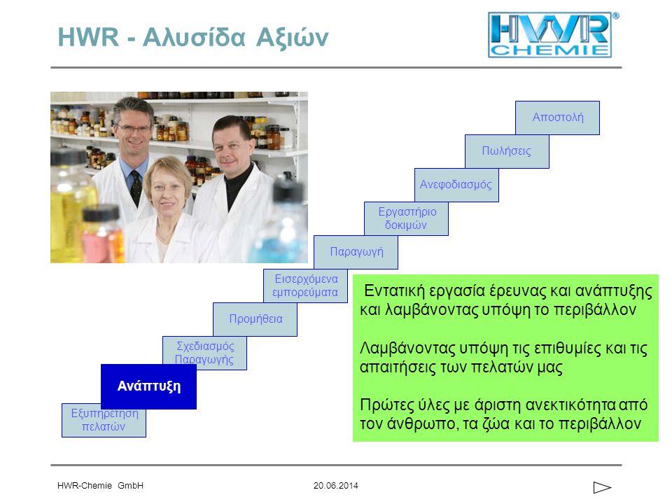 HWR-Chemie GmbH20.06.2014 HWR - Αλυσίδα Αξιών Εξυπηρέτηση πελατών Σχεδιασμός Παραγωγής Ανάπτυξη Εισερχόμενα εμπορεύματα Προμήθεια Αποστολή Παραγωγή Ερ