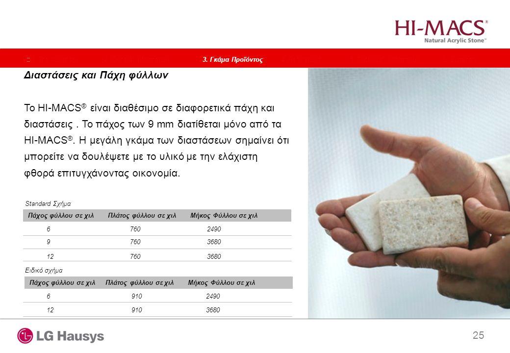 25 Διαστάσεις και Πάχη φύλλων Το HI-MACS ® είναι διαθέσιμο σε διαφορετικά πάχη και διαστάσεις. Το πάχος των 9 mm διατίθεται μόνο από τα HI-MACS ®. Η μ