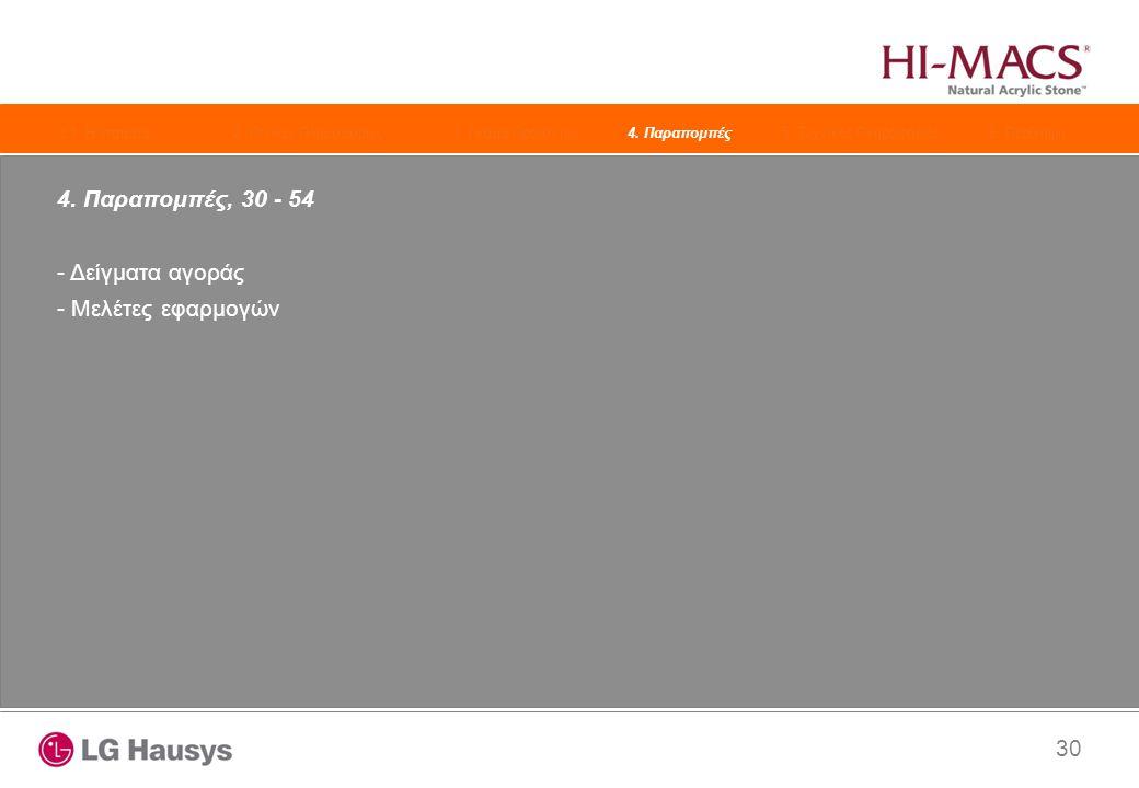 30 4. Παραπομπές, 30 - 54 - Δείγματα αγοράς - Μελέτες εφαρμογών 1. Η εταιρεία2. Γενικές Πληροφορίες3. Γκάμα Προϊόντων4. Παραπομπές 5. Τεχνικές Πληροφο