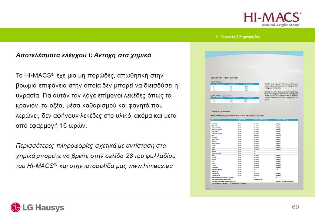 60 Αποτελέσματα ελέγχου I: Αντοχή στα χημικά Το HI-MACS ® έχε μια μη πορώδες, απωθητική στην βρωμιά επιφάνεια στην οποία δεν μπορεί να διεισδύσει η υγ