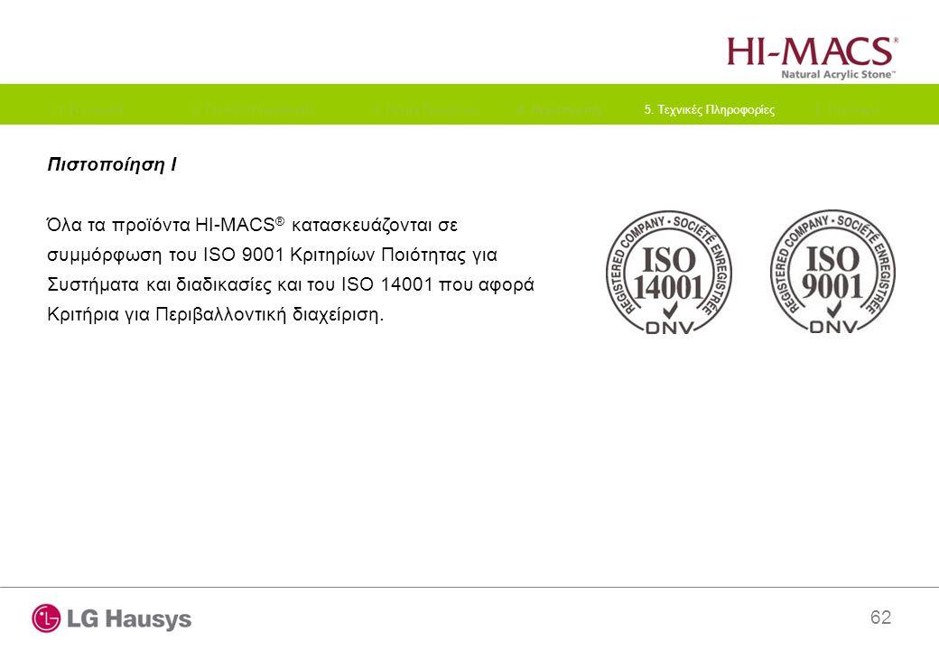 62 Πιστοποίηση I Όλα τα προϊόντα HI-MACS ® κατασκευάζονται σε συμμόρφωση του ISO 9001 Κριτηρίων Ποιότητας για Συστήματα και διαδικασίες και του ISO 14001 που αφορά Κριτήρια για Περιβαλλοντική διαχείριση.