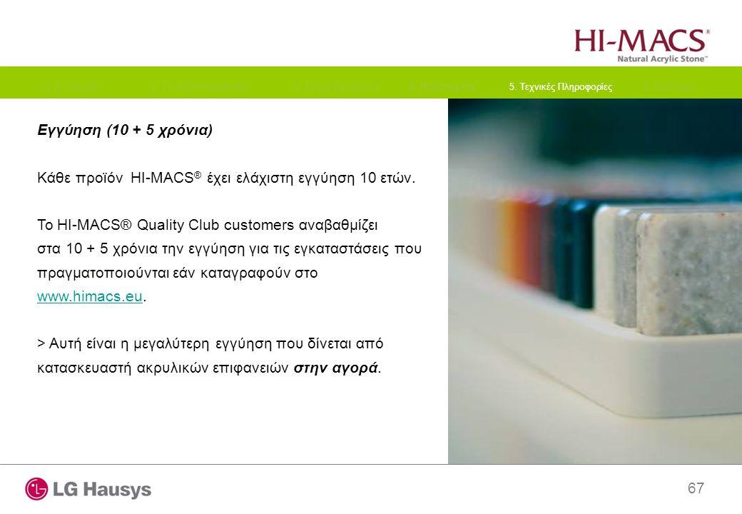 67 Εγγύηση (10 + 5 χρόνια) Κάθε προϊόν HI-MACS ® έχει ελάχιστη εγγύηση 10 ετών. Το HI-MACS® Quality Club customers αναβαθμίζει στα 10 + 5 χρόνια την ε