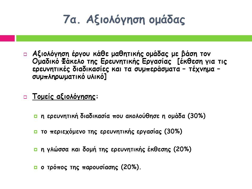 7α. Αξιολόγηση ομάδας  Αξιολόγηση έργου κάθε μαθητικής ομάδας με βάση τον Ομαδικό Φάκελο της Ερευνητικής Εργασίας [έκθεση για τις ερευνητικές διαδικα