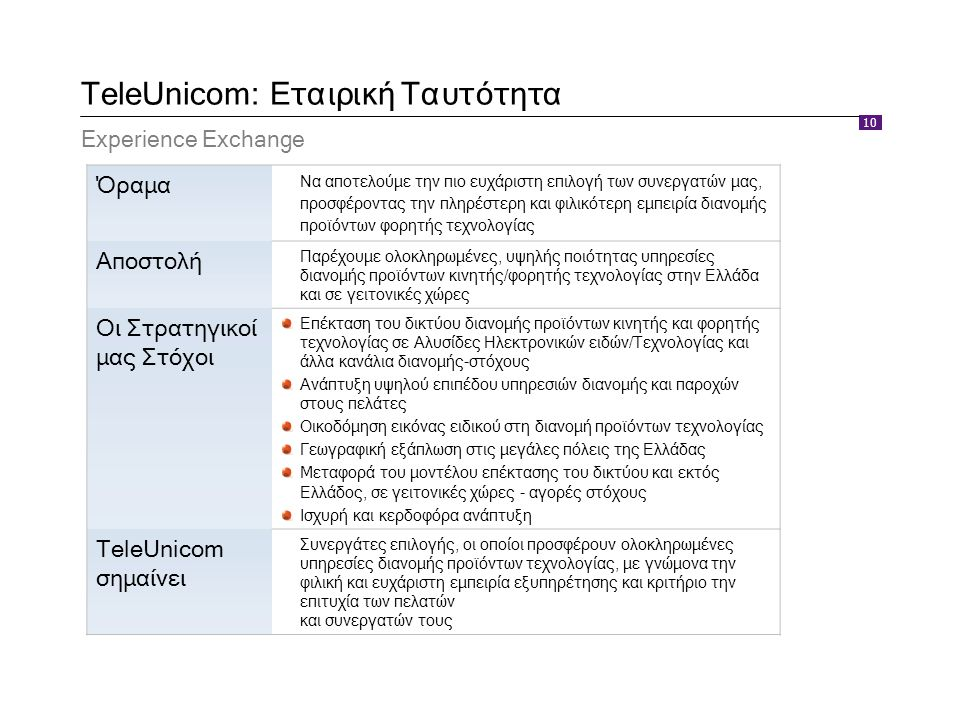 10 TeleUnicom: Εταιρική Ταυτότητα Experience Exchange Όραμα Να αποτελούμε την πιο ευχάριστη επιλογή των συνεργατών μας, προσφέροντας την πληρέστερη κα