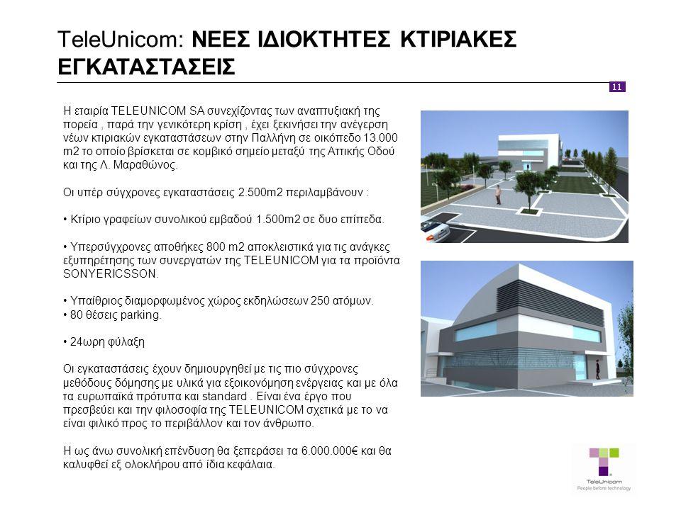 11 TeleUnicom: ΝΕΕΣ ΙΔΙΟΚΤΗΤΕΣ ΚΤΙΡΙΑΚΕΣ ΕΓΚΑΤΑΣΤΑΣΕΙΣ Η εταιρία TELEUNICOM SA συνεχίζοντας των αναπτυξιακή της πορεία, παρά την γενικότερη κρίση, έχει ξεκινήσει την ανέγερση νέων κτιριακών εγκαταστάσεων στην Παλλήνη σε οικόπεδο 13.000 m2 το οποίο βρίσκεται σε κομβικό σημείο μεταξύ της Αττικής Οδού και της Λ.