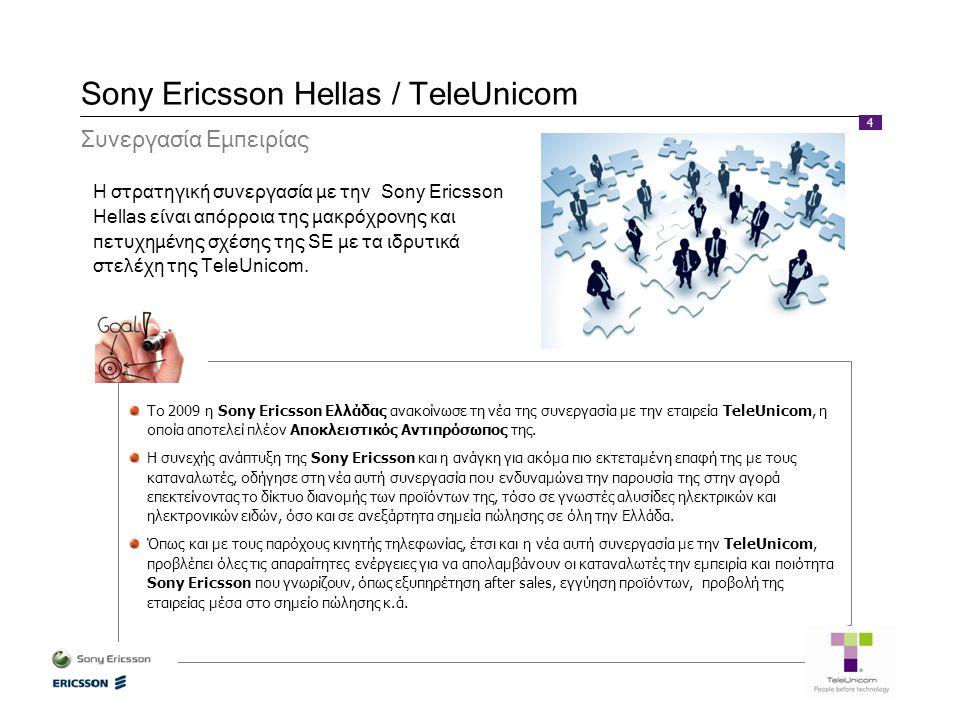 4 Sony Ericsson Hellas / TeleUnicom Συνεργασία Εμπειρίας Η στρατηγική συνεργασία με την Sony Ericsson Hellas είναι απόρροια της μακρόχρονης και πετυχη