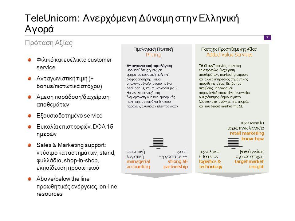 7 TeleUnicom: Ανερχόμενη Δύναμη στην Ελληνική Αγορά Πρόταση Αξίας Φιλικό και ευέλικτο customer service Ανταγωνιστική τιμή (+ bonus/πιστωτικά στόχου) Ά