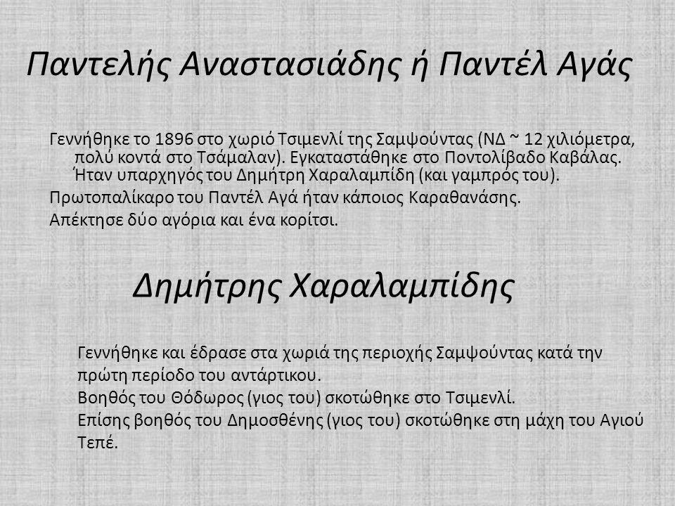 Παντελής Αναστασιάδης ή Παντέλ Αγάς Γεννήθηκε το 1896 στο χωριό Τσιμενλί της Σαμψούντας (ΝΔ ~ 12 χιλιόμετρα, πολύ κοντά στο Τσάμαλαν). Εγκαταστάθηκε σ