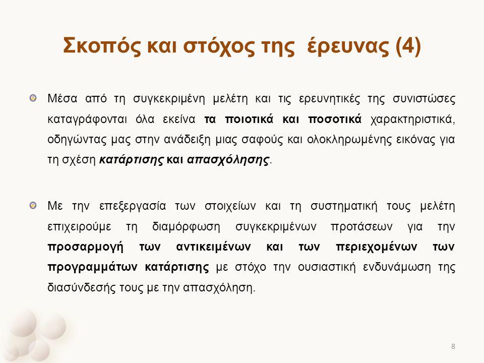 Σκοπός και στόχος της έρευνας (4) Μέσα από τη συγκεκριμένη μελέτη και τις ερευνητικές της συνιστώσες καταγράφονται όλα εκείνα τα ποιοτικά και ποσοτικά