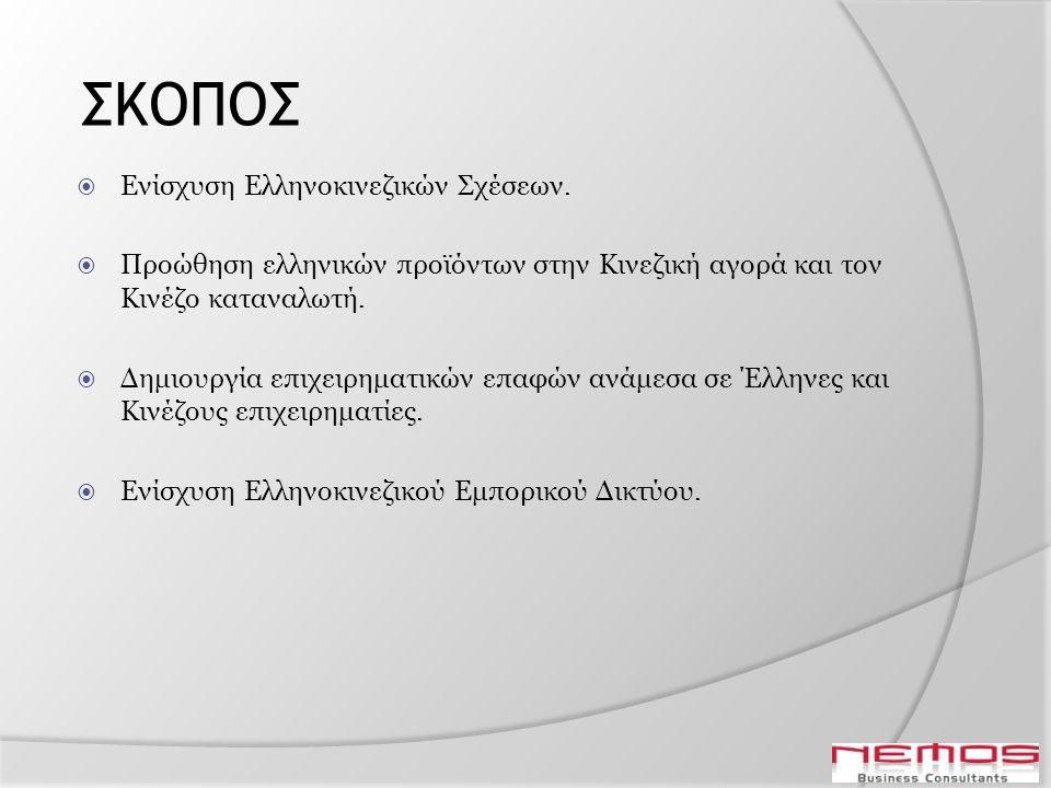 ΣΚΟΠΟΣ  Ενίσχυση Ελληνοκινεζικών Σχέσεων.  Προώθηση ελληνικών προϊόντων στην Κινεζική αγορά και τον Κινέζο καταναλωτή.  Δημιουργία επιχειρηματικών