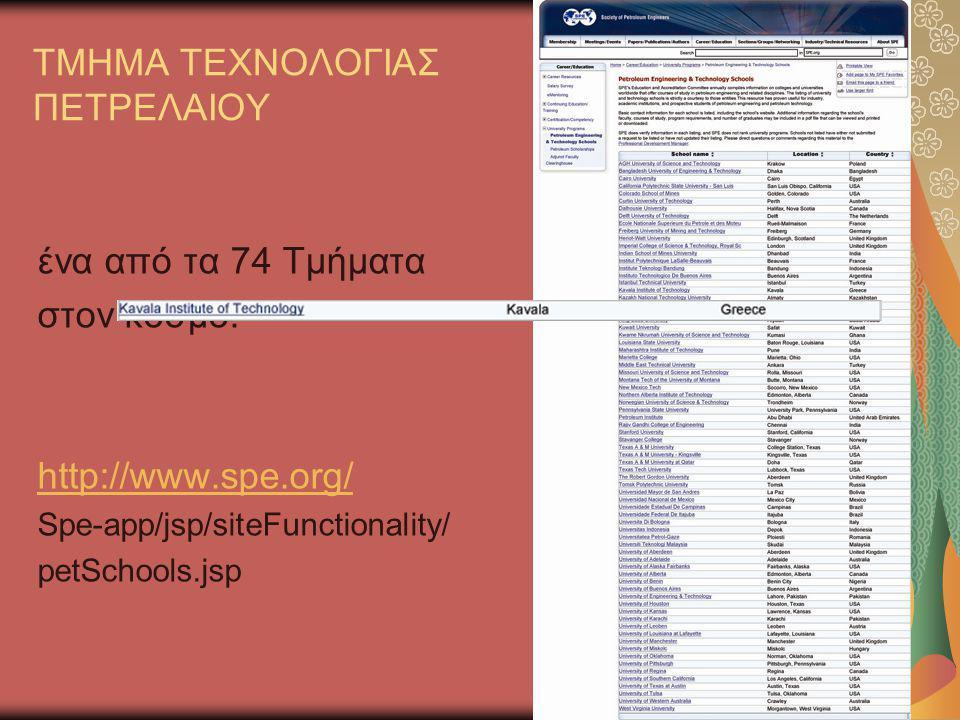 ΤΜΗΜΑ ΤΕΧΝΟΛΟΓΙΑΣ ΠΕΤΡΕΛΑΙΟΥ ένα από τα 74 Τμήματα στον κόσμο! http://www.spe.org/ Spe-app/jsp/siteFunctionality/ petSchools.jsp