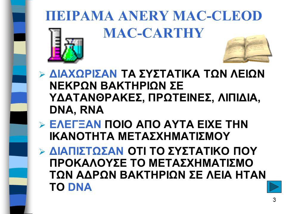 3 ΠΕΙΡΑΜΑ ANERY MAC-CLEOD MAC-CARTHY  ΔΙΑΧΩΡΙΣΑΝ ΤΑ ΣΥΣΤΑΤΙΚΑ ΤΩΝ ΛΕΙΩΝ ΝΕΚΡΩΝ ΒΑΚΤΗΡΙΩΝ ΣΕ ΥΔΑΤΑΝΘΡΑΚΕΣ, ΠΡΩΤΕΙΝΕΣ, ΛΙΠΙΔΙΑ, DNA, RNA  ΕΛΕΓΞΑΝ ΠΟΙΟ ΑΠΟ ΑΥΤΑ ΕΙΧΕ ΤΗΝ ΙΚΑΝΟΤΗΤΑ ΜΕΤΑΣΧΗΜΑΤΙΣΜΟΥ  ΔΙΑΠΙΣΤΩΣΑΝ ΟΤΙ ΤΟ ΣΥΣΤΑΤΙΚΟ ΠΟΥ ΠΡΟΚΑΛΟΥΣΕ ΤΟ ΜΕΤΑΣΧΗΜΑΤΙΣΜΟ ΤΩΝ ΑΔΡΩΝ ΒΑΚΤΗΡΙΩΝ ΣΕ ΛΕΙΑ ΗΤΑΝ ΤΟ DNA