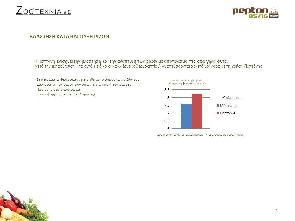 4 Η Πεπτόνη έχει αποδειχθεί ότι ευνοεί την ανάπτυξη των νεαρών φυτών καθώς και του φυλλώματος.