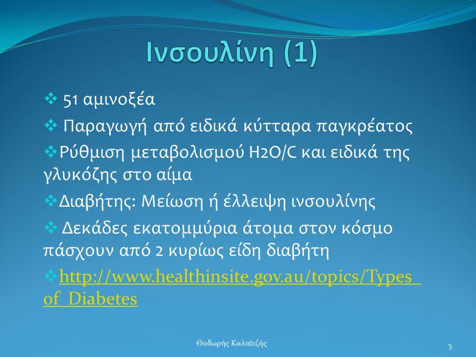  51 αμινοξέα  Παραγωγή από ειδικά κύτταρα παγκρέατος  Ρύθμιση μεταβολισμού Η2Ο/C και ειδικά της γλυκόζης στο αίμα  Διαβήτης: Μείωση ή έλλειψη ινσουλίνης  Δεκάδες εκατομμύρια άτομα στον κόσμο πάσχουν από 2 κυρίως είδη διαβήτη  http://www.healthinsite.gov.au/topics/Types_ of_Diabetes http://www.healthinsite.gov.au/topics/Types_ of_Diabetes 5 Θοδωρής Καλαϊτζής