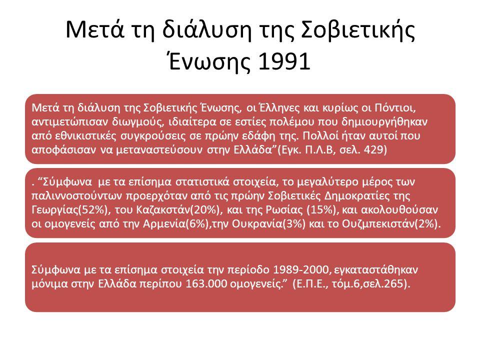Μετά τη χούντα των συνταγματαρχών Μετά την κατάρρευση της χούντας των συνταγματαρχών το 1974, κατέφθασαν στην Ελλάδα από τη Ε.Σ.Σ.Δ, Πόντιοι μαζί με Π