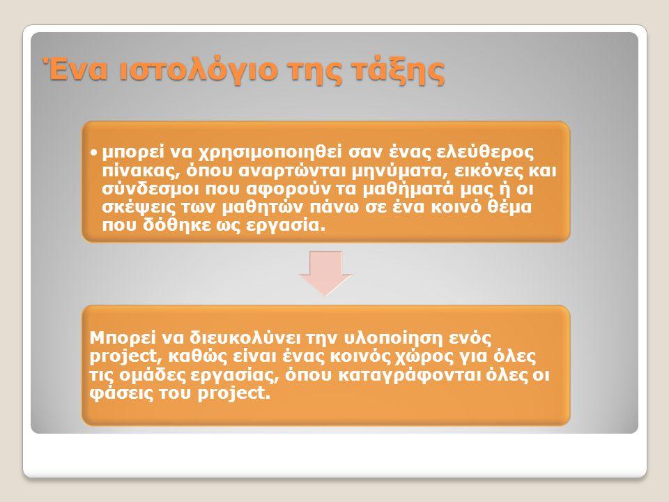 Ένα ιστολόγιο της τάξης •μπορεί να χρησιμοποιηθεί σαν ένας ελεύθερος πίνακας, όπου αναρτώνται μηνύματα, εικόνες και σύνδεσμοι που αφορούν τα μαθήματά