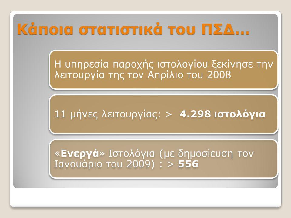 Κάποια στατιστικά του ΠΣΔ… Η υπηρεσία παροχής ιστολογίου ξεκίνησε την λειτουργία της τον Απρίλιο του 2008 11 μήνες λειτουργίας: > 4.298 ιστολόγια «Ενε
