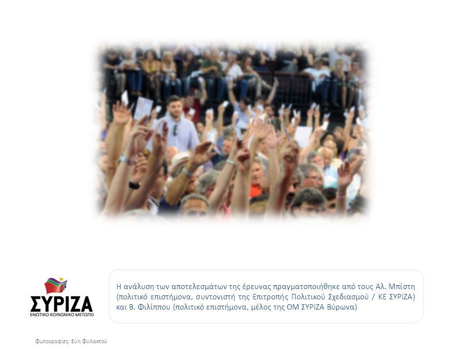 Φωτογραφίες: Εύη Φυλακτού Η ανάλυση των αποτελεσμάτων της έρευνας πραγματοποιήθηκε από τους Αλ.