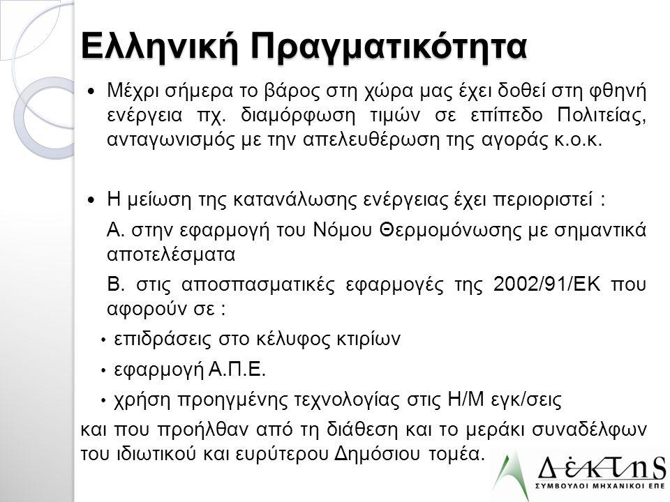 Ελληνική Πραγματικότητα  Μέχρι σήμερα το βάρος στη χώρα μας έχει δοθεί στη φθηνή ενέργεια πχ. διαμόρφωση τιμών σε επίπεδο Πολιτείας, ανταγωνισμός με