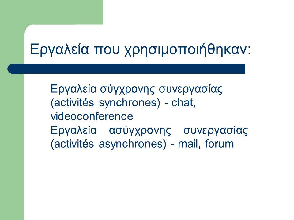 Εργαλεία σύγχρονης συνεργασίας (activités synchrones) - chat, videoconference Εργαλεία ασύγχρονης συνεργασίας (activités asynchrones) - mail, forum Εργαλεία που χρησιμοποιήθηκαν: