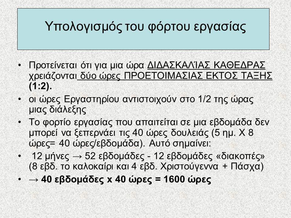 Υπολογισμός του φόρτου εργασίας •Προτείνεται ότι για μια ώρα ΔΙΔΑΣΚΑΛΊΑΣ ΚΑΘΕΔΡΑΣ χρειάζονται δύο ώρες ΠΡΟΕΤΟΙΜΑΣΙΑΣ ΕΚΤΟΣ ΤΑΞΗΣ (1:2). •οι ώρες Εργασ