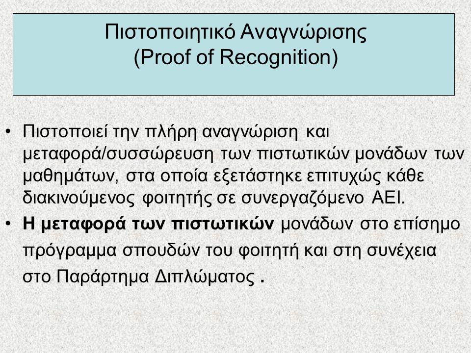 Πιστοποιητικό Αναγνώρισης (Proof of Recognition) •Πιστοποιεί την πλήρη αναγνώριση και μεταφορά/συσσώρευση των πιστωτικών μονάδων των μαθημάτων, στα οπ