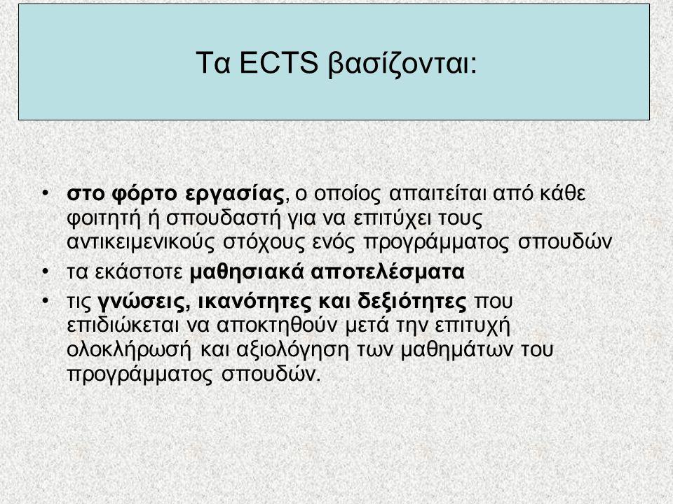 Τα ECTS βασίζονται: •στο φόρτο εργασίας, ο οποίος απαιτείται από κάθε φοιτητή ή σπουδαστή για να επιτύχει τους αντικειμενικούς στόχους ενός προγράμματ