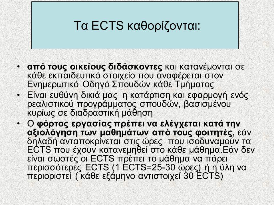 Τα ECTS καθορίζονται: •από τους οικείους διδάσκοντες και κατανέμονται σε κάθε εκπαιδευτικό στοιχείο που αναφέρεται στον Ενημερωτικό Οδηγό Σπουδών κάθε