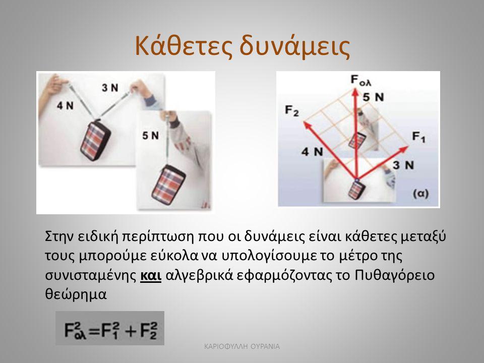 Κάθετες δυνάμεις Στην ειδική περίπτωση που οι δυνάμεις είναι κάθετες μεταξύ τους μπορούμε εύκολα να υπολογίσουμε το μέτρο της συνισταμένης και αλγεβρικά εφαρμόζοντας το Πυθαγόρειο θεώρημα ΚΑΡΙΟΦΥΛΛΗ ΟΥΡΑΝΙΑ