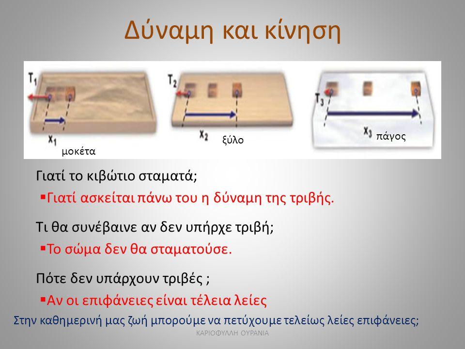 Δύναμη και κίνηση μοκέτα ξύλο πάγος Γιατί το κιβώτιο σταματά;  Γιατί ασκείται πάνω του η δύναμη της τριβής. Τι θα συνέβαινε αν δεν υπήρχε τριβή;  Το