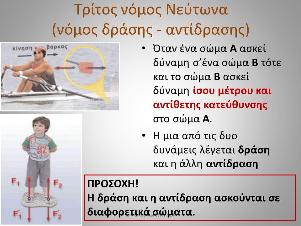 Τρίτος νόμος Νεύτωνα (νόμος δράσης - αντίδρασης) • Όταν ένα σώμα Α ασκεί δύναμη σ'ένα σώμα Β τότε και το σώμα Β ασκεί δύναμη ίσου μέτρου και αντίθετης