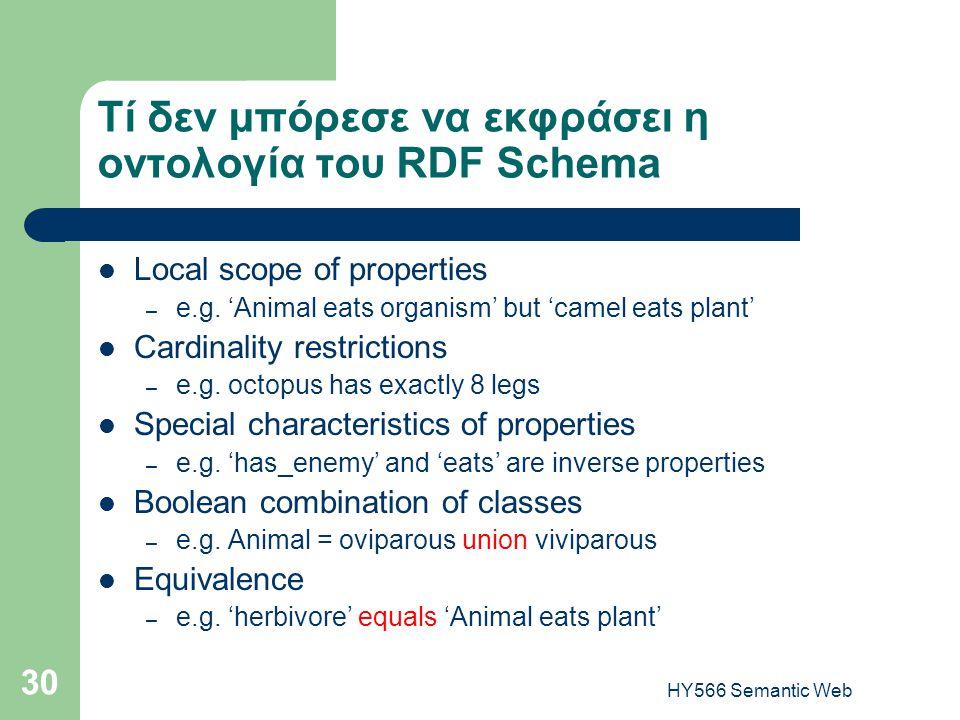HY566 Semantic Web 30 Τί δεν μπόρεσε να εκφράσει η οντολογία του RDF Schema  Local scope of properties – e.g. 'Animal eats organism' but 'camel eats