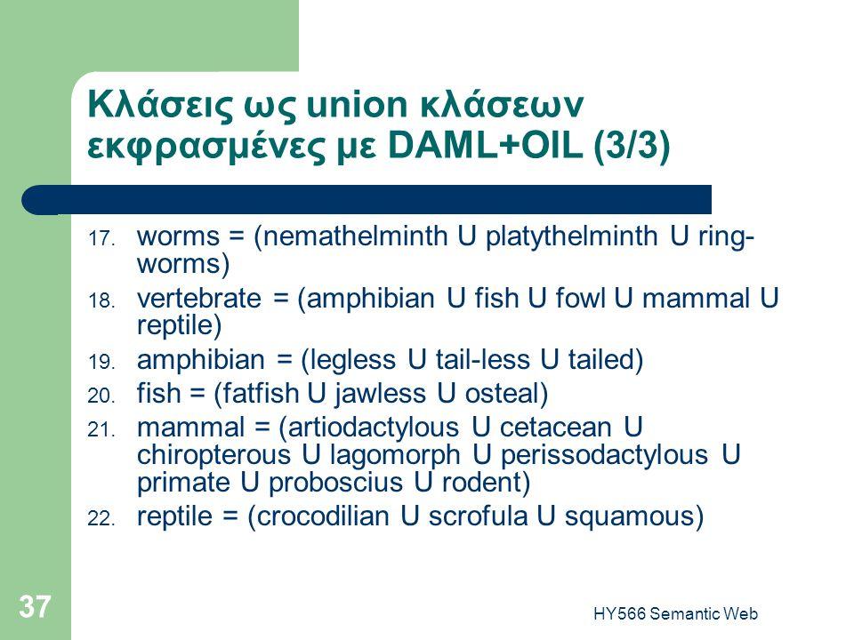 HY566 Semantic Web 37 Κλάσεις ως union κλάσεων εκφρασμένες με DAML+OIL (3/3) 17. worms = (nemathelminth U platythelminth U ring- worms) 18. vertebrate